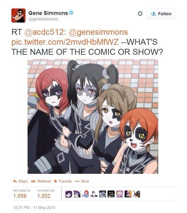 Gene Simmons tweeting a screencap of the characters of Love Live in KISS makeup asking,