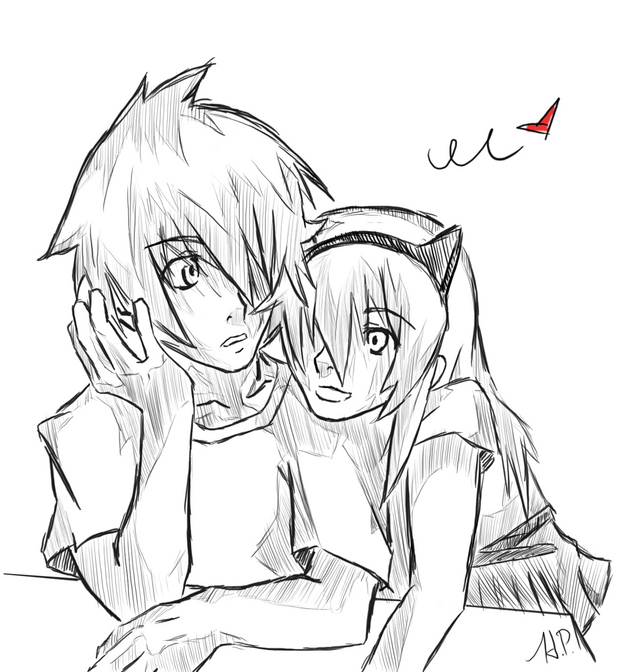 emo anime couples coloring pages