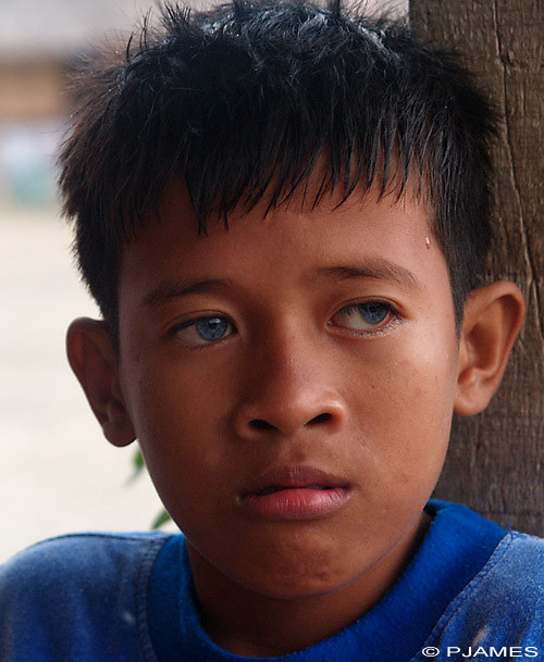 Asian person with blue eyes