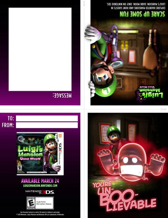 luigi's mansion valentine's cards