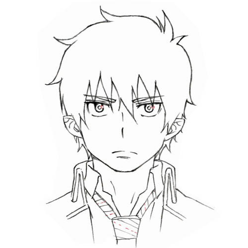 blue exorcist rin okumura drawing sketch coloring page