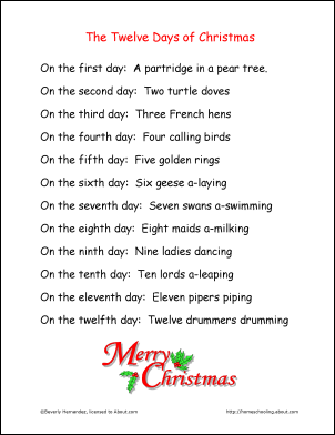 the original gift list which we use to remember how each line is sung