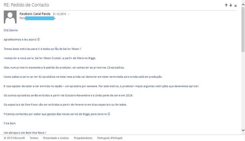 Mensagem de email do canal Biggs