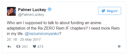 Palmer Luckey quer financiar Re:Zero