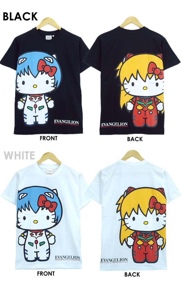 6d9b5ed44 Three styles of shirts, featuring Hello Kitty crossed with Evangelion's Rei  and Asuka, are being offered in black and white.