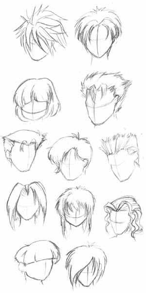 how to draw short hair anime
