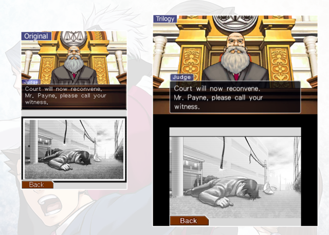 Comparison of old and new Phoenix Wright graphics