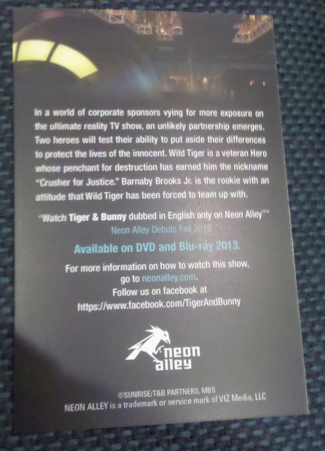 Tiger & Bunny Neon Alley flyer