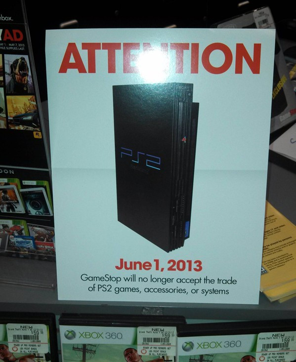Gamestop PS2 Trade-In stop notice