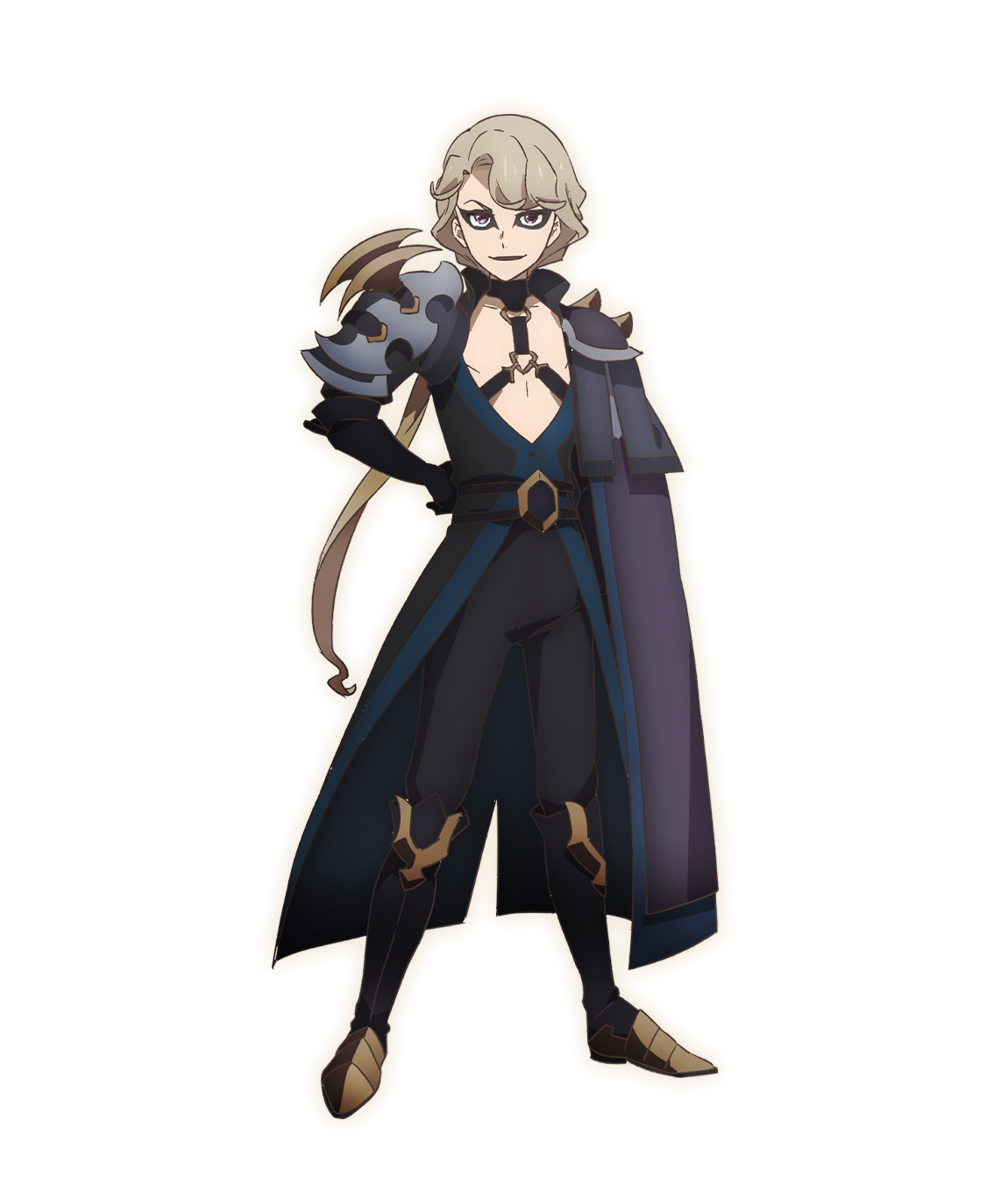 A character setting of Volux from the SEVEN KNIGHTS REVOLUTION: Hero Successor TV anime. Volux appears as a young man in revealing sorcerous armor and a dark cloak. Volux sports his hair in a single long braid and has dark eye-liner outlining his eyes and a cruel expression.