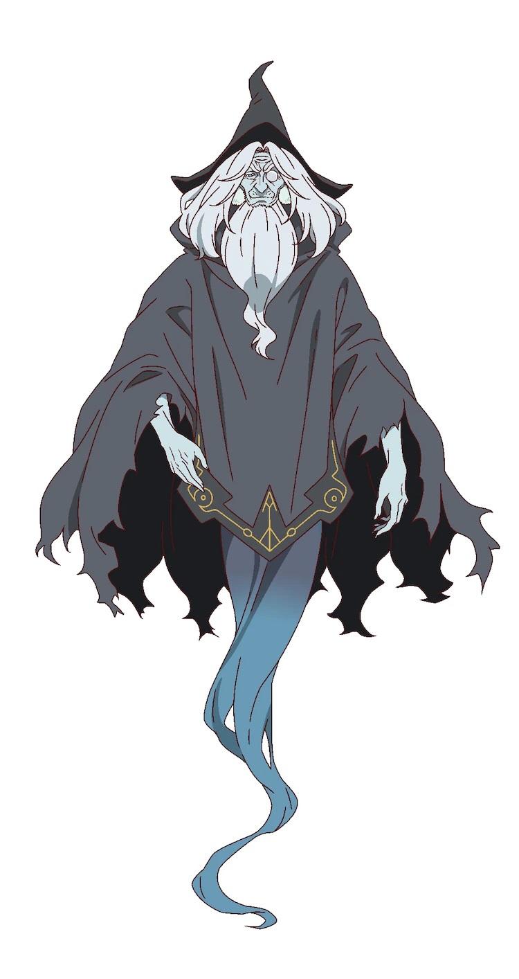 Un escenario de personajes de Gus, un mago fantasmal del próximo anime televisivo The Faraway Paladin.  Gus aparece como un anciano arrugado con el pelo largo y blanco y una barba larga.  Lleva un sombrero puntiagudo, un monóculo y una túnica oscura que se convierte en susurros donde normalmente estarían sus piernas.