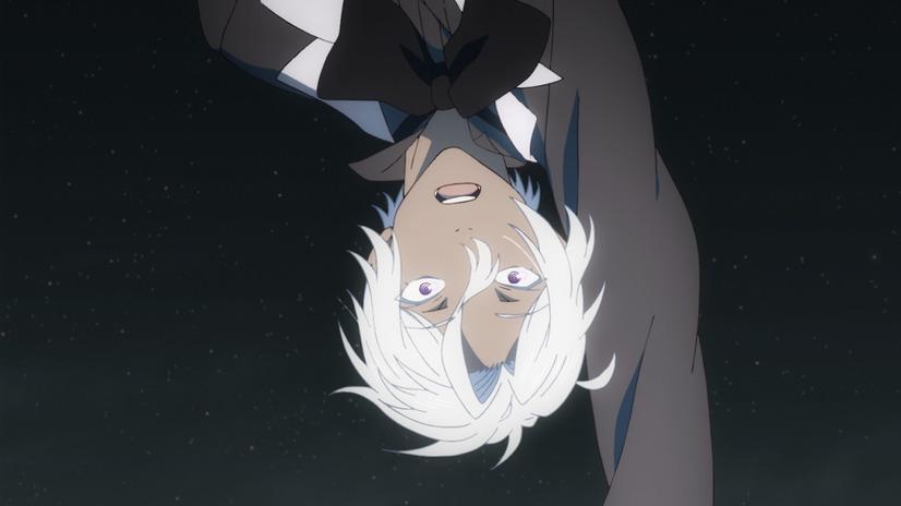 Noé Archiviste, un vampiro joven y bien vestido, se lanza de cabeza al aire libre en una escena del próximo anime televisivo The Case Study of Vanitas.