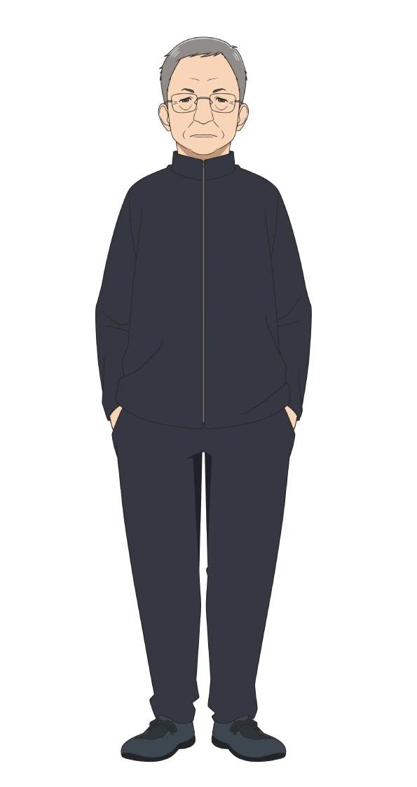 Un escenario de personajes de Kenroku Washizu, el director del club de fútbol femenino Kunogi Gakuen del próximo anime de televisión Farewell, My Dear Cramer.  Kenroku es un hombre de unos sesenta años con gafas, cabello corto y gris y una expresión seria.  Está vestido con un sencillo uniforme negro.
