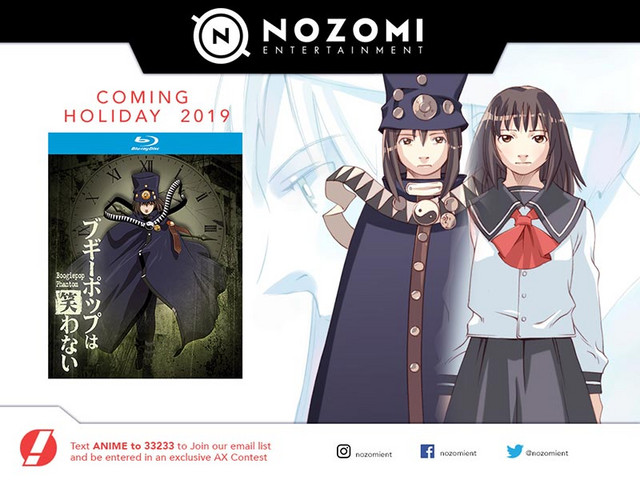 An advertisement for the Nozomi Entertainment Bluray release of Boogiepop Phantom.