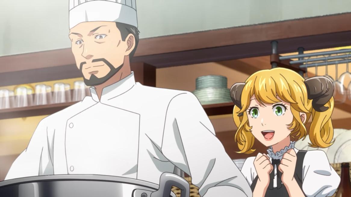 Master y Aletta preparan una gran olla de estofado para sus clientes en una escena del próximo anime televisivo Restaurant to Another World 2.