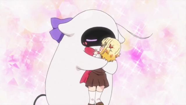 Reincarnated as a large, fluffy robot, Peta Robo embraces her younger sister, Null, in the Null & Peta TV anime.