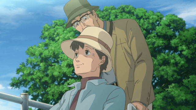 With the aid of a wheelchair, husband and wife couple Michio and Yoko enjoy a stroll along the outskirts of town in a scene from Marukome's 8th animated TV CM.