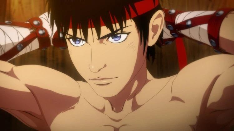 Cestvs, un esclavo romano entrenado para convertirse en boxeador para las peleas del Coliseo, se aprieta una banda de sudor alrededor de la frente con una mirada de determinación sombría en una escena del próximo anime de televisión Cestvs -The Roman Fighter-.