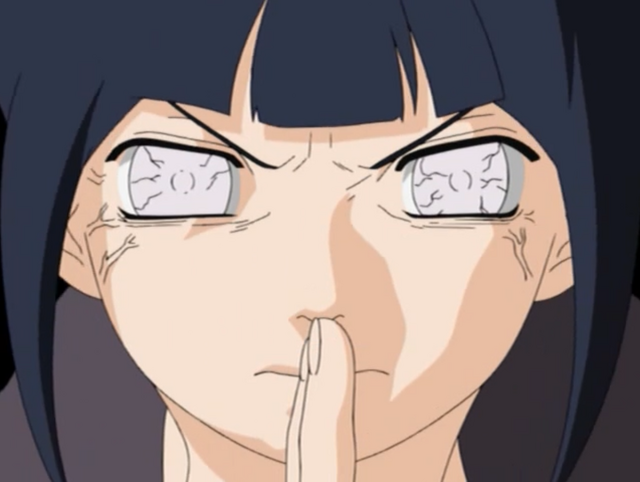 Hinata prepares to unleash her newly mastered technique: Protective 8 Trigrams 64 Palms.