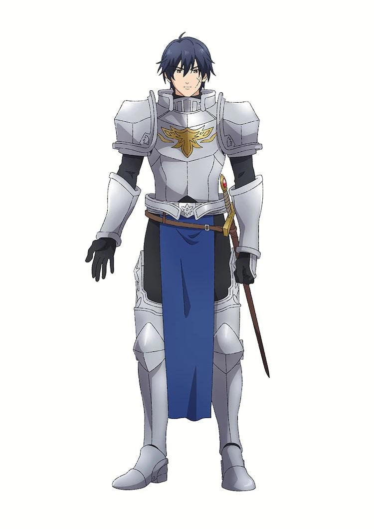 Un escenario de personaje de Hero, un caballero con cota de malla con cabello corto y oscuro y una cicatriz en forma de X en su mejilla, del próximo anime de televisión Dragon Goes House-Hunting.