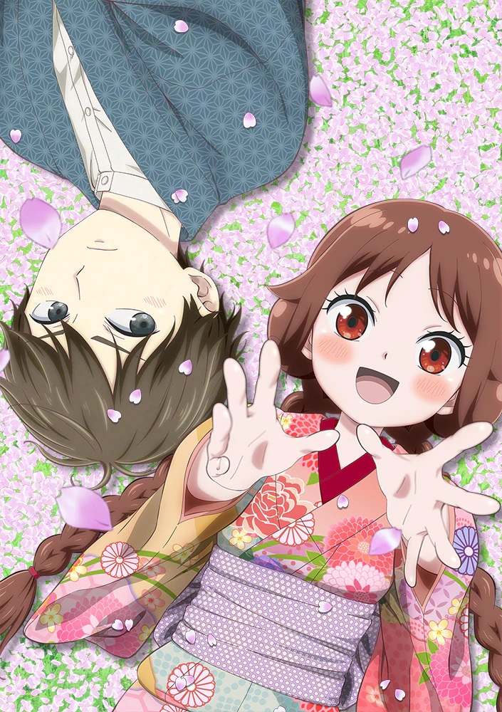A new key visual for the upcoming Taisho Otome Otogi Banashi TV anime, featuring the main characters, Tamahiko Shima and Yuzuki Tachibana, laying amid a field of flowers while cherry blossoms gently rain down from above.