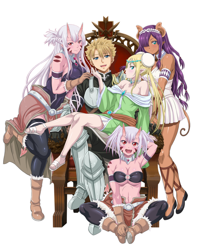 A key visual for the upcoming Peter Grill and the Philosopher's Time TV anime, featuring the main character, the heroic warrior Peter Grill, surrounded by a bevy of demi-human damsels who want to mate with him.