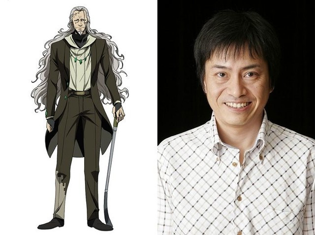 A charater visual of Warlock, a long-hair and scarred criminal, and his voice actor, Hiroaki Hirata.