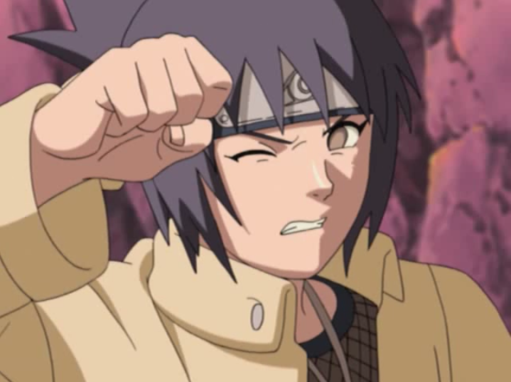 Anko Mitarashi shields her eyes from a splash of sea water in a scene from Episode 170 of the 2002 - 2007 Naruto TV anime.