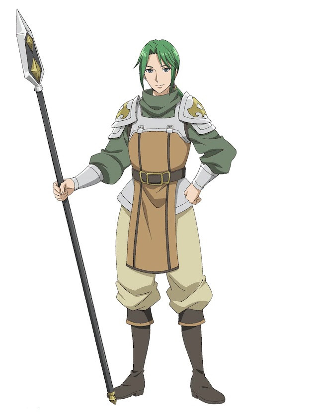 A character visual of Roderich, a spear fighter from the upcoming Hachinan-tte, Sore wa Nai Deshou! TV anime.