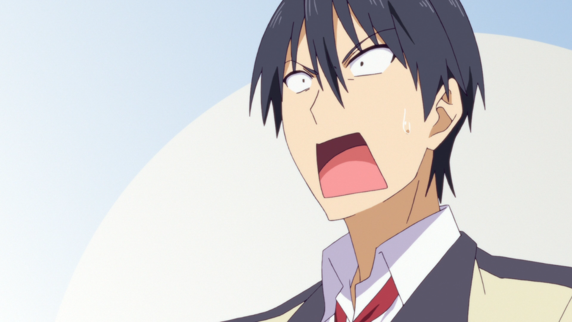 Akuru reacts with dismay to Yoshiko's antics in a scene from the 2017 TV anime, AHO-GIRL.