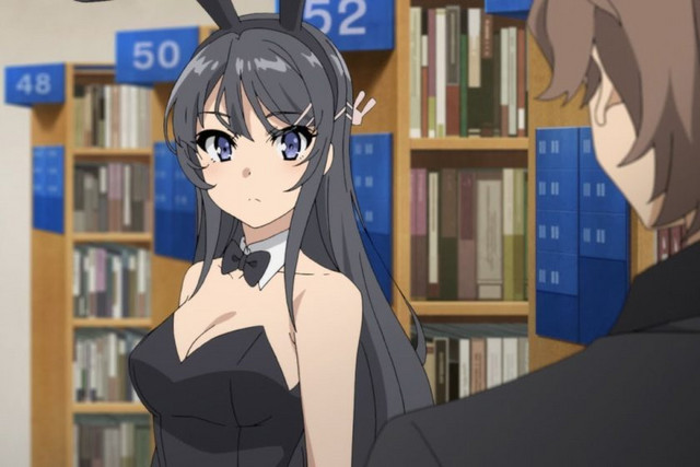 Mai Sakurajima, the heroine of the series, dons a bunny girl outfit in the public library in a scene from the Rascal Does Not Dream of Bunny Girl Senpai TV anime.