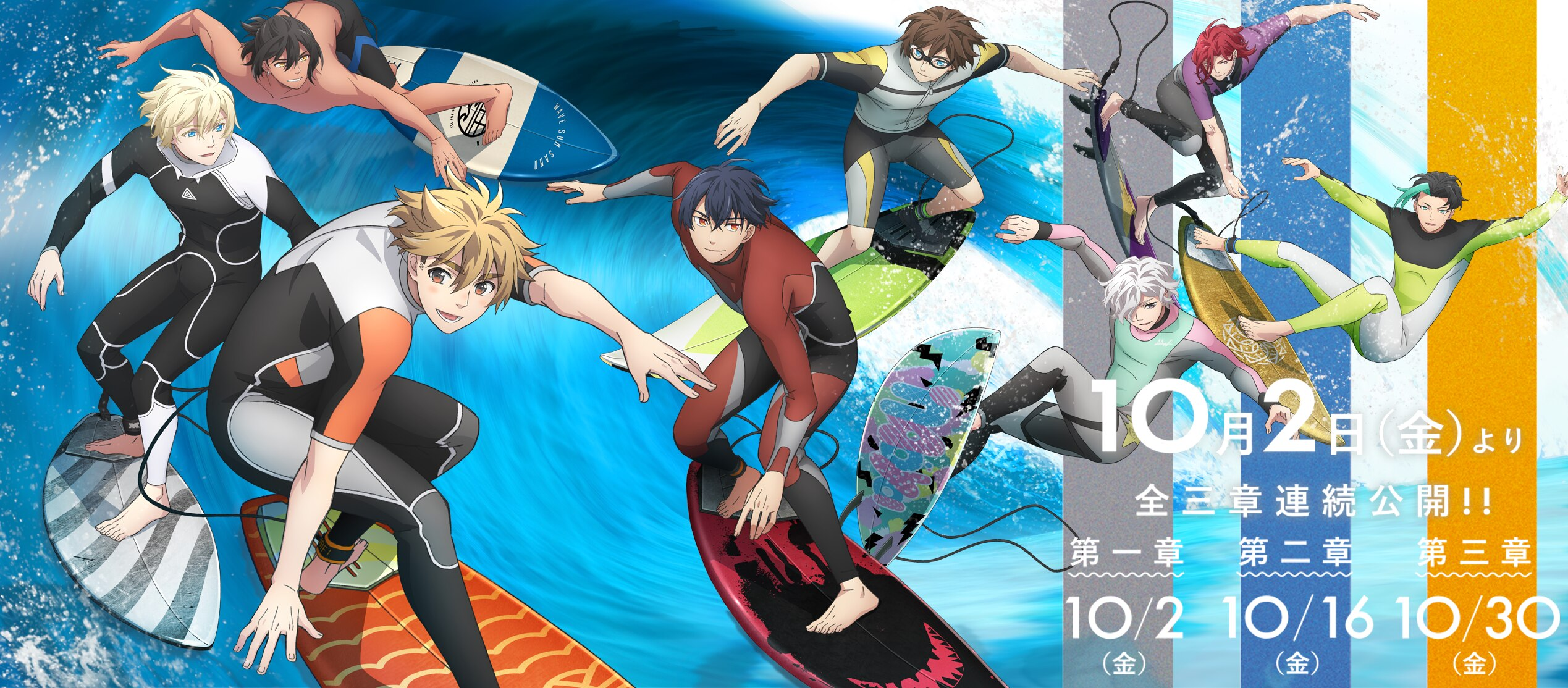 A banner image promoting the upcoming WAVE!! Surfing Yappe!! anime theatrical film, featuring a panoramic view of all of the main characters surfing on the same breaking wave.
