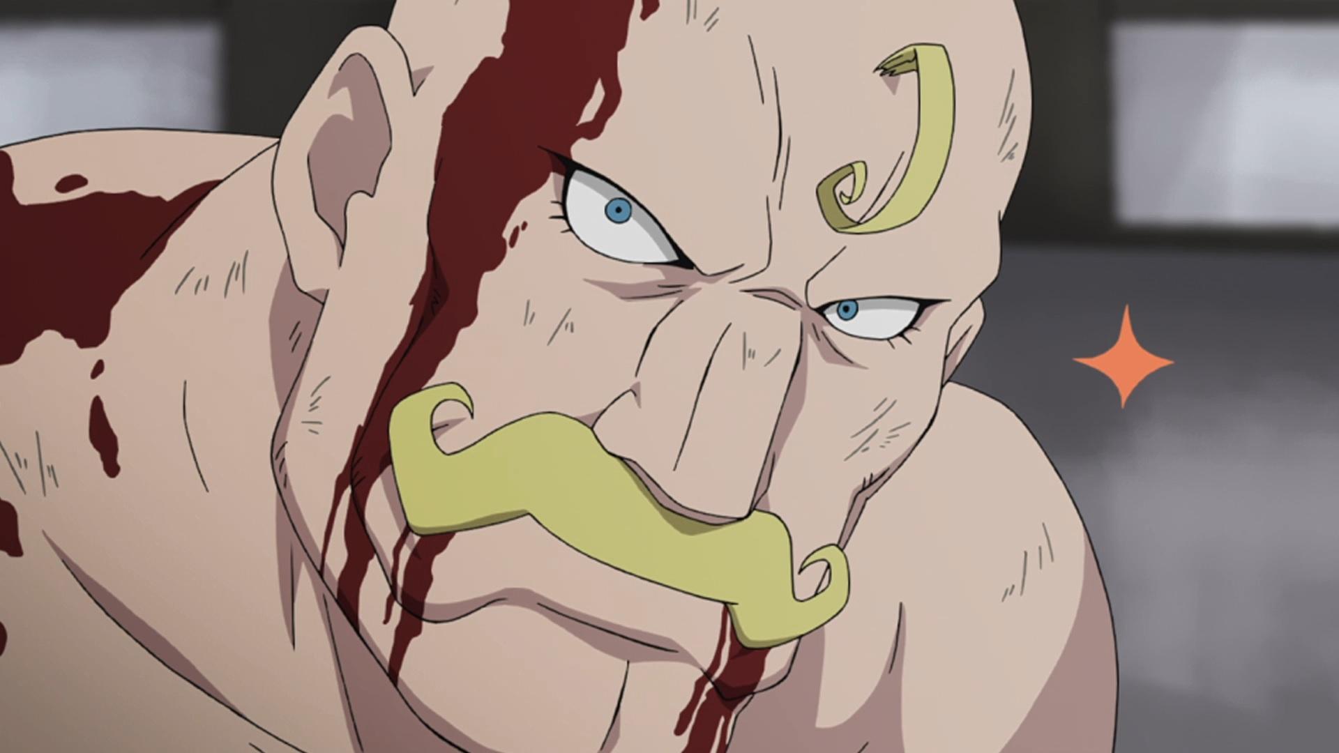 Aunque maltratado y ensangrentado, Alex Louis Armstrong fija su rostro con una sonrisa de determinación sombría y brillante en una escena del anime de televisión Fullmetal Alchemist.