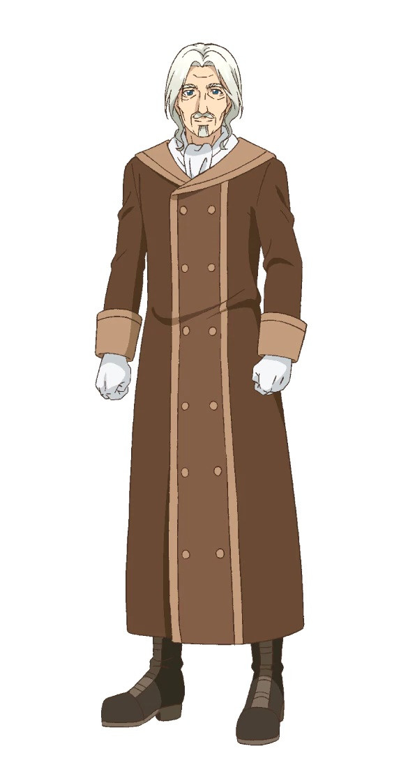 A character setting of Reinbach, an elderly man with white fair, a beard and mustache, and a long brown great coat from the upcoming By the Grace of the Gods TV anime.