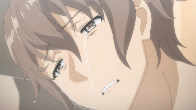 Emotionally devastated by his younger sister's struggles with amnesia and dissociation, Sakuta Azusagawa weeps in the bathtub in a scene from the Rascal Does Not Dream of Bunny Girl Senpai TV anime.