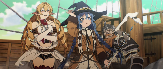 A screen capture from the trailer for the Mushoku Tensei: Jobless Reincarnation TV anime, featuring high fantasy characters such as elves, witches, and dwarves.