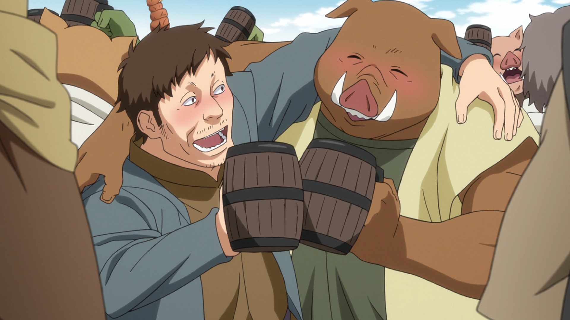 A human and an orc enjoy a toast and some friendly companionship during a feast in the capital city of the Jura Tempest Federation in a scene from the That Time I Got Reincarnated as a Slime TV anime.