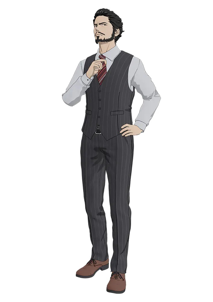 A character setting of Kensuke Toriumi from the upcoming TESLA NOTE TV anime. Kensuke is a stern looking, bearded man with dark hair and dark eyes. He dresses in a businesss shirt and tie with matching gray striped vest and slacks.