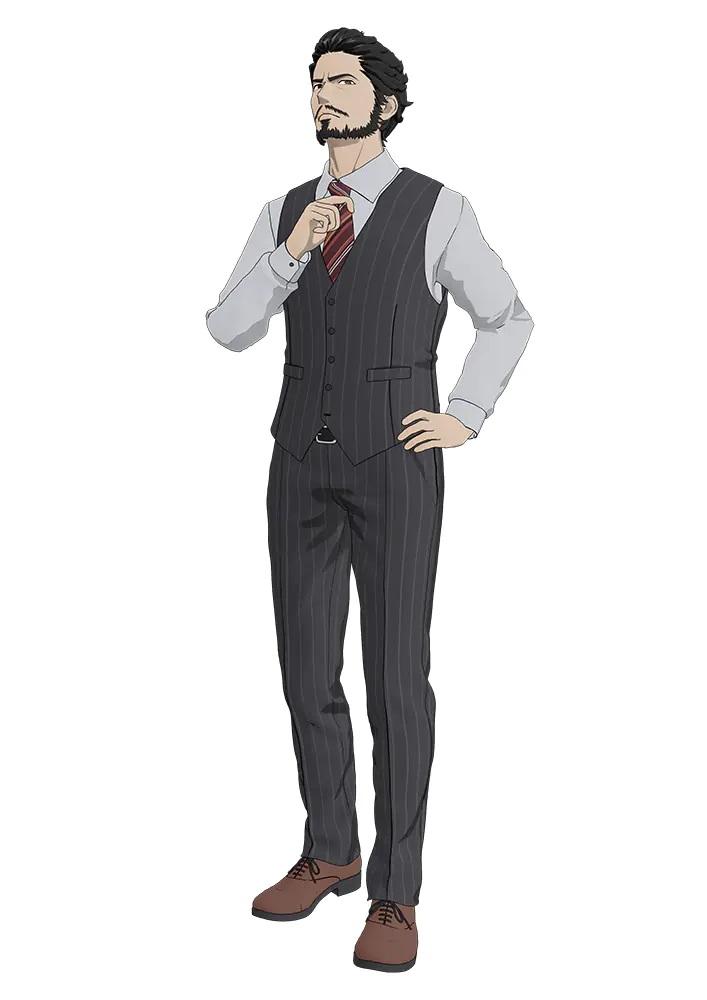Un escenario de personajes de Kensuke Toriumi del próximo anime de televisión TESLA NOTE.  Kensuke es un hombre barbudo de aspecto severo, cabello oscuro y ojos oscuros.  Se viste con una camisa y corbata de negocios, con un chaleco y pantalones a rayas grises a juego.
