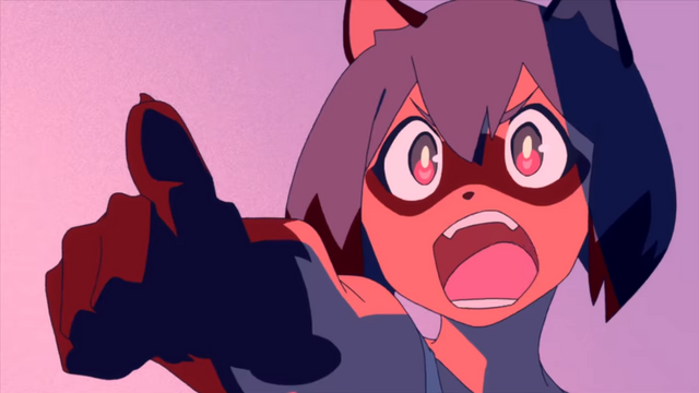 Michiru Kagemori, a tanuki beast person, points her fingers and shouts in a scene from the upcoming BNA: Brand New Animal TV anime.