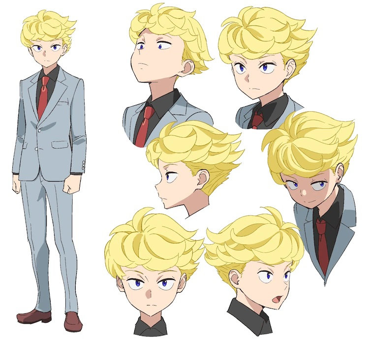 A character setting of Alan Gardner from the upcoming Pompo: The Cinéphile theatrical anime film. Alan is a young man with blonde hair and blue eyes. He dresses in a gray three piece suit with brown dress shoes, a black shirt, and a red tie.