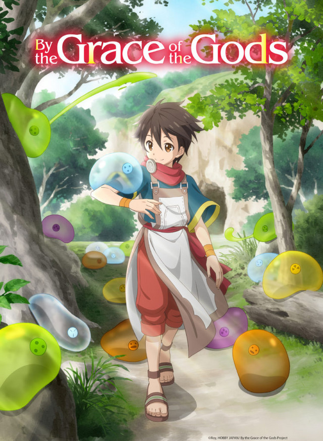 The English language key visual for the upcoming By the Grace of the Gods TV anime, featuring the main character Ryoma and his tamed slimes.