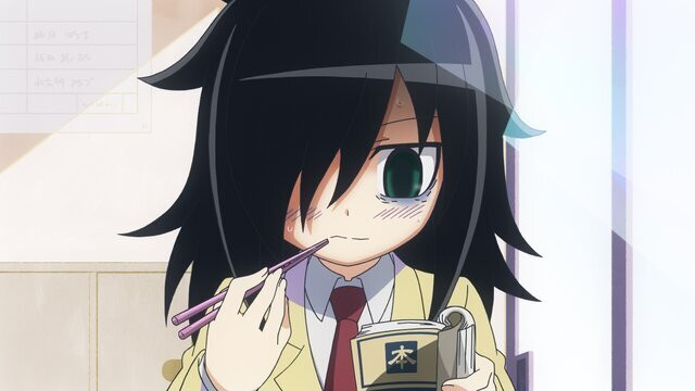 Tomoko eats her lunch in solitude in a scene from the WATAMOTE ~No Matter How I Look at It, It's You Guys Fault I'm Not Popular!~ TV anime.