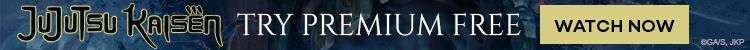 Un banner publicitario de Crunchyroll con el logotipo del anime de TV JUJUTSU KAISEN.