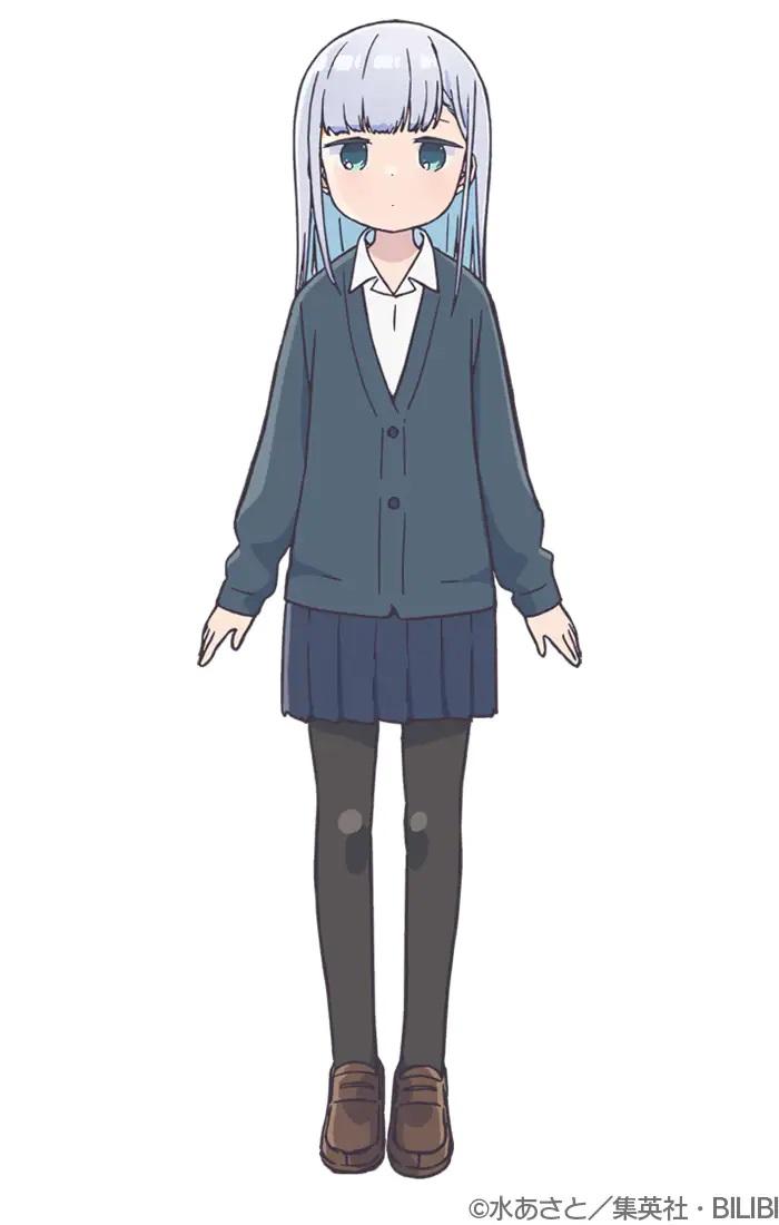 Un escenario de personajes de Reina Aharen del próximo anime de televisión Aharen-san wa Hakarenai.  Reina es una niña pequeña con expresión en blanco, cabello plateado y ojos verdes vestida con un uniforme escolar y una chaqueta.
