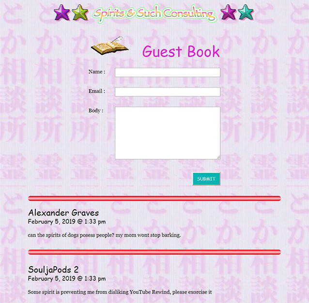 leave your messages in the guestbook!