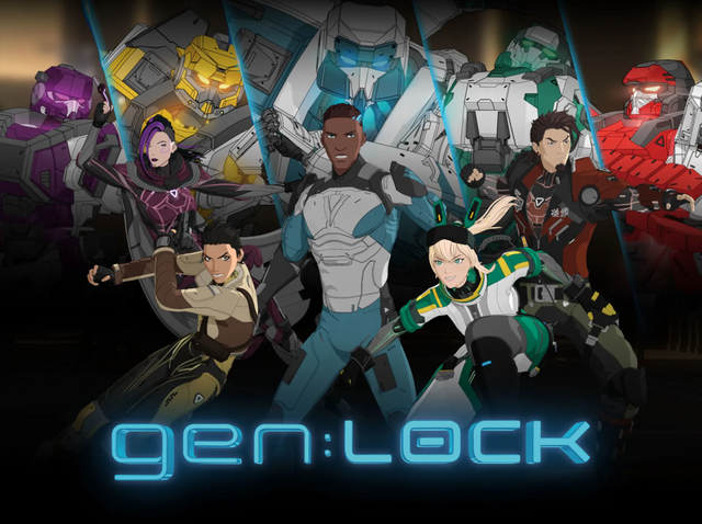 A key visual featuring the main cast of gen:LOCK and their mecha.