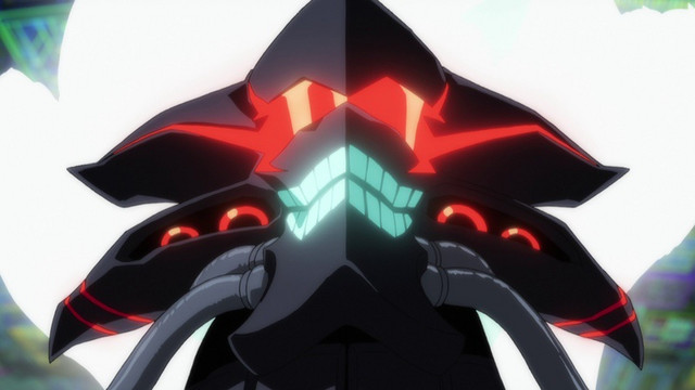Alexis Kerib, an invasive computer virus given corporeal form, smiles wickedly in a scene from the SSSS.GRIDMAN TV anime.
