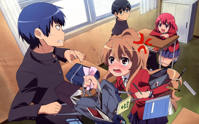 Ryuji and Taiga wrestle over a backpack in a promotional image for the Toradora! TV anime.