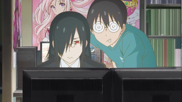 Fafnir and Makoto play an MMORPG in their shared otaku apartment in a scene from the 2017 Miss Kobayashi's Dragon Maid TV anime.